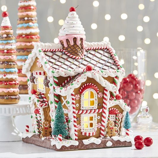 Raz 14 LED Lighted Claydough Pastel Colored Gingerbread House Christmas Figure 3919187
