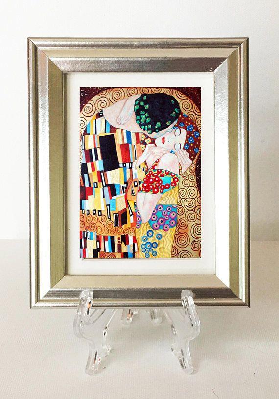 Klimt Print The Kiss Gustav Small Framed