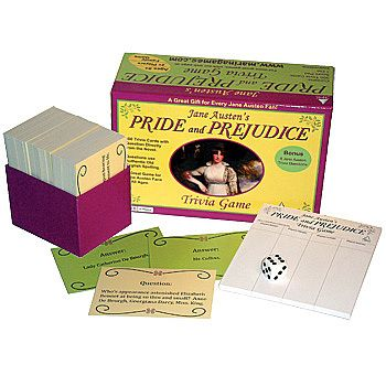 This would make a great Jane Austen Gift - Pride & Prejudice Trivia Set. I challenge all of you!