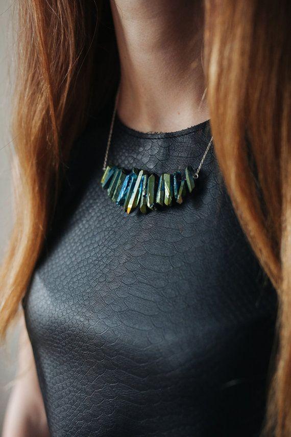 raw stone necklace long boho jewelry crystal silver by Korizzashop