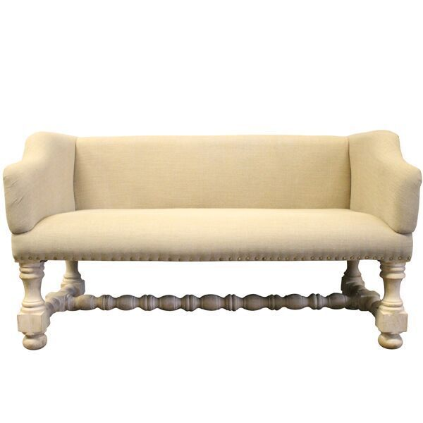 Petite Linen Bench Linen Settee Bench With Wooden Barley Twist