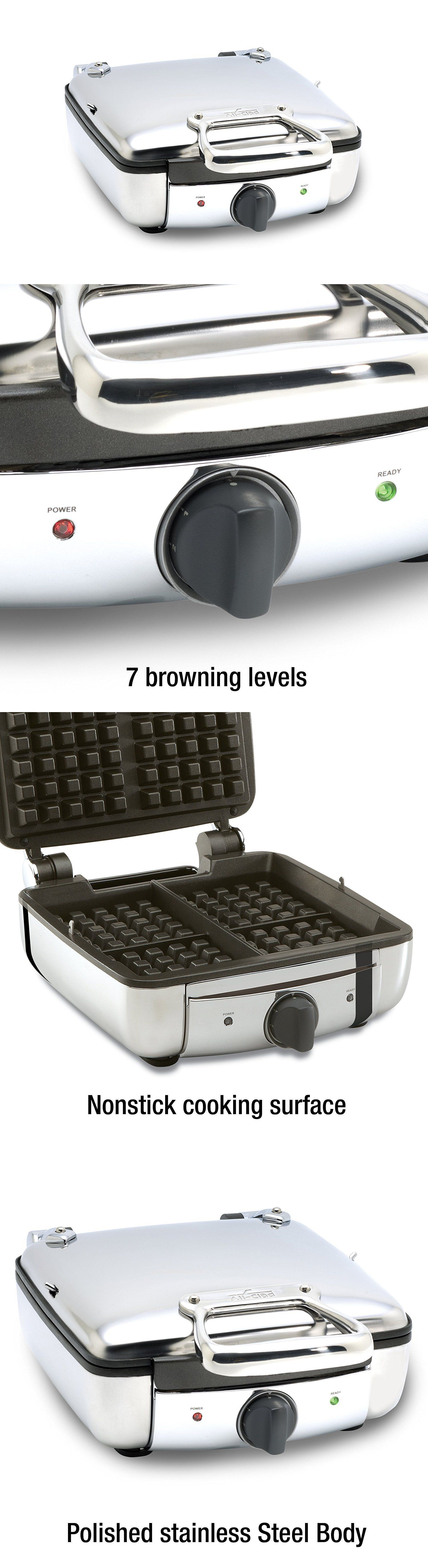 Waffle Irons All Clad 99011GT Stainless Steel Belgian Maker Browning Settings