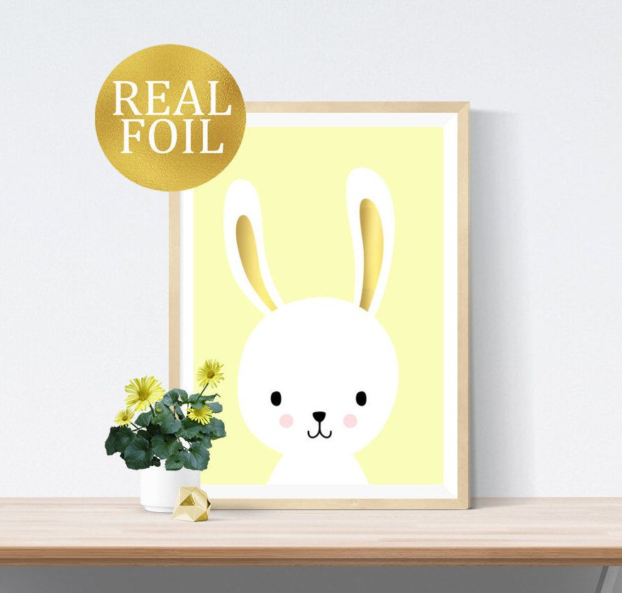 REAL FOIL Bunny Rabbit with Foil Ears Print | Modern Pink Black ...