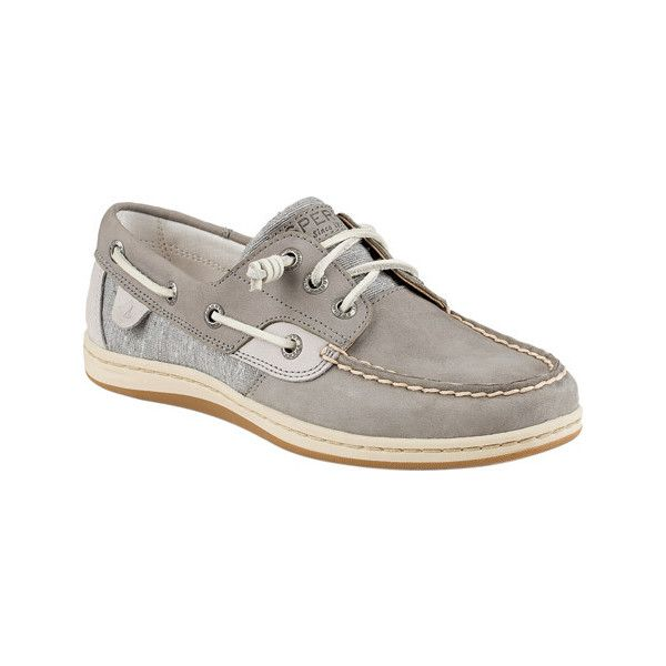 Women's Sperry Songfish Core Boat Shoe - Grey Leather/Textile Casual ($94)  ❤ liked on Polyvore featuring shoes, loafers, casual, casual shoes, grey…