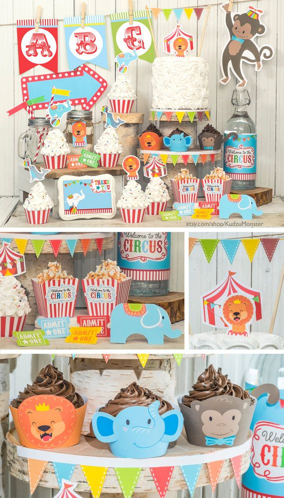 Circus Animal Carnival Jungle Baby Shower Or First Birthday Party Decor Kit Complete With Cupcake Wrappers Toppers Customizeable Banner Popcorn Boxes And
