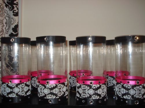 Hot Pink Black And White Wedding Table Decorations Centerpiece Flower Vases