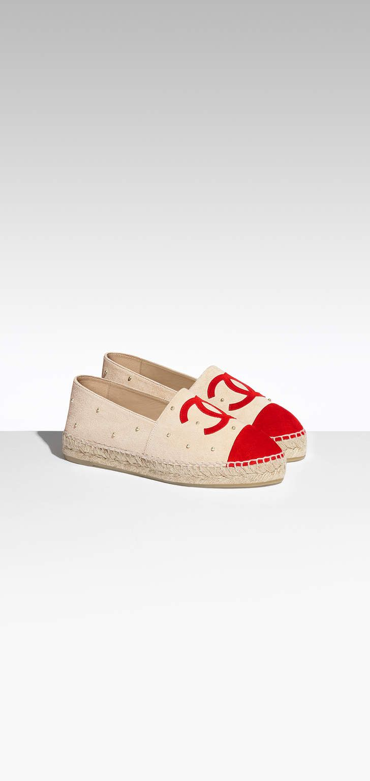 CHANEL Shoes : Espadrilles, suede calfskin & imitation pearls-beige &  orange on the CHANEL fashion website