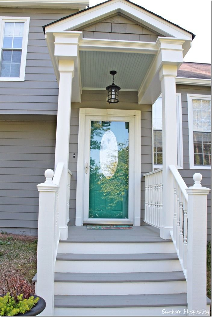 Front Porch Painted Sherwin Williams Dovetail With Pure White Trim I Don T Have Room For Shutters On All My Windows So 2 Colors The House