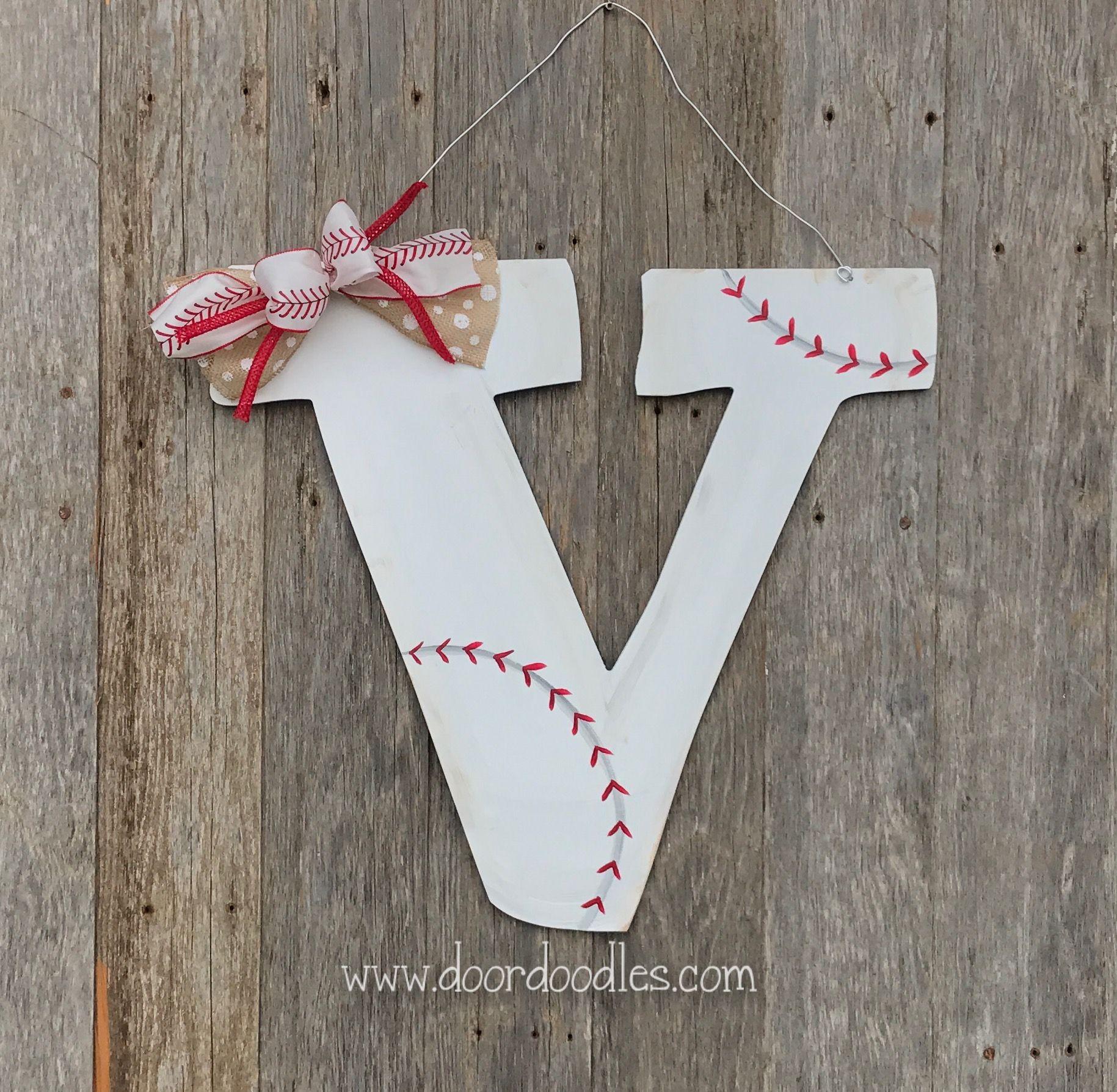 Baseball Themed Front Door Initial Monogram Wreath Hanger Hanging
