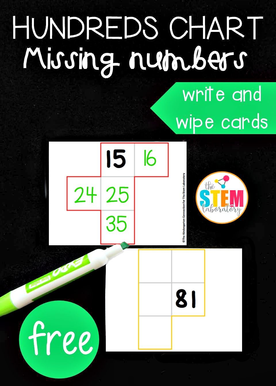 Free missing number hundred chart cards! Fun math center or math ...