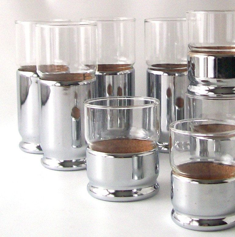Amazing Vintage Chrome Glassware Silver Cup Coaster Disco Mid Century Modern Retro  Serving Barware Glass Housewares Kitchen