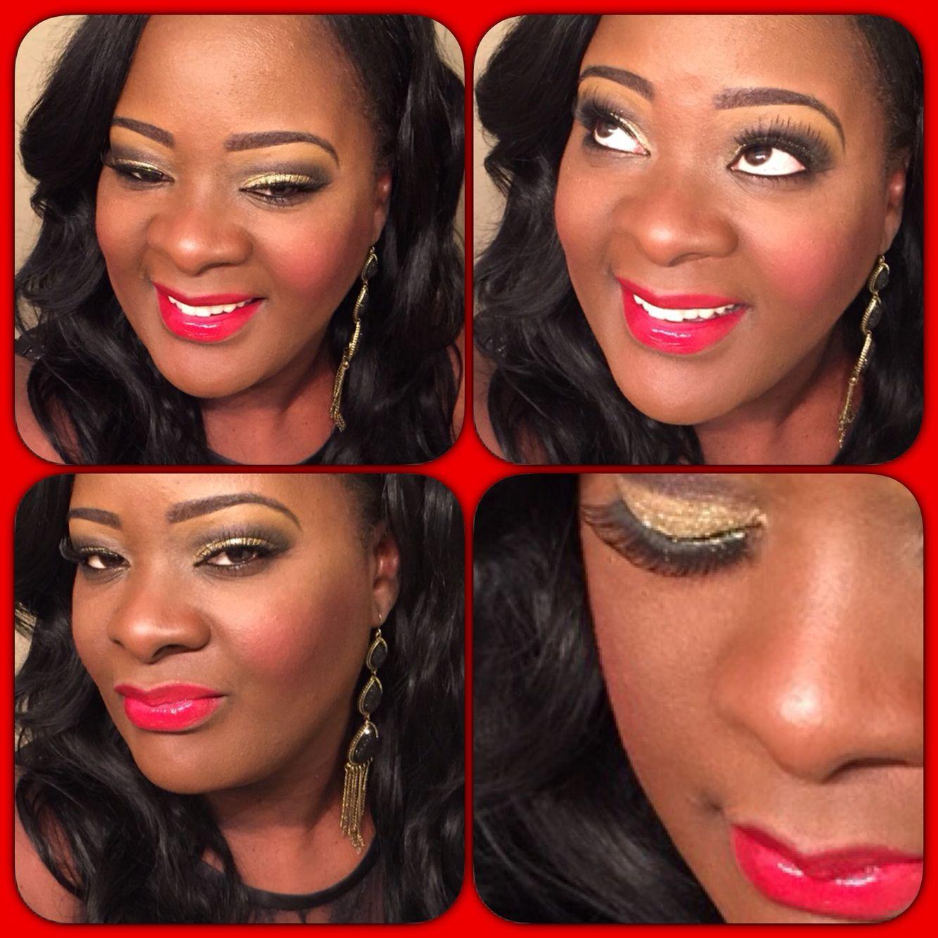 Evening Makeup Gold Glitter Eyeshadow And Red Lipstick Makeup