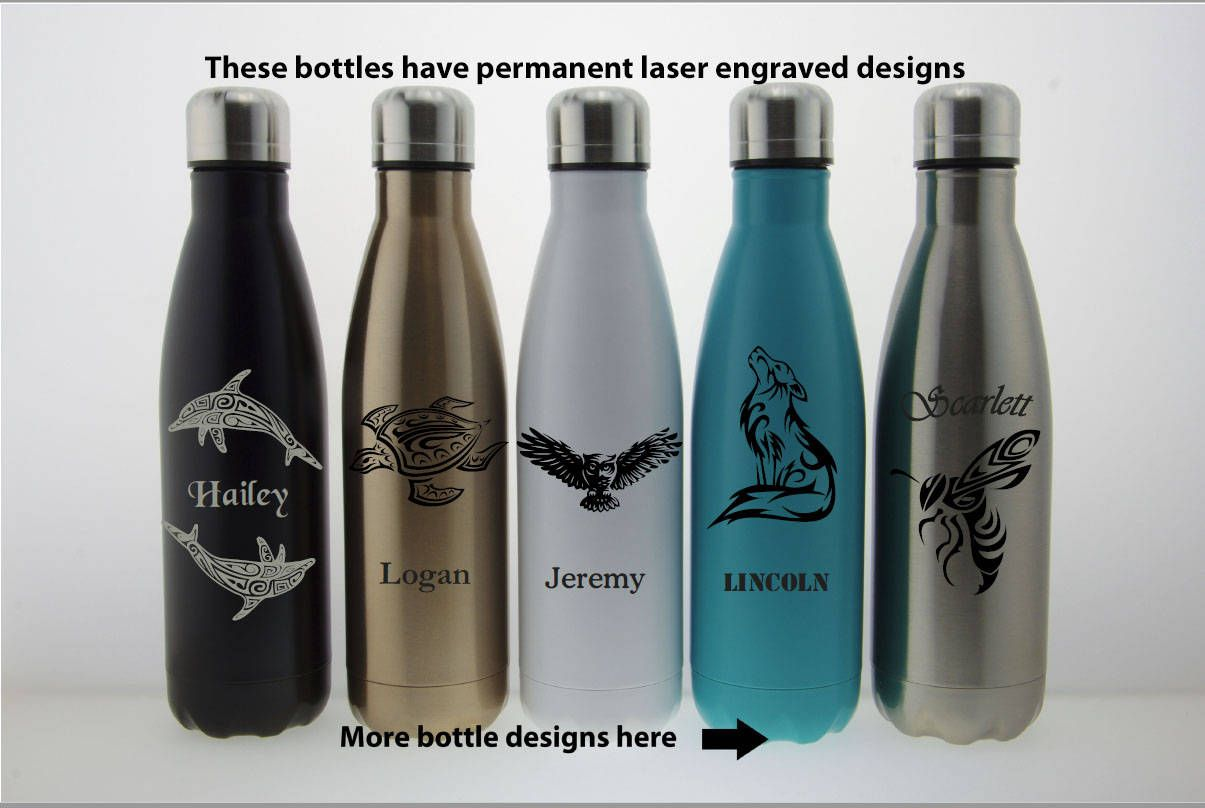 1bf0bee882 Personalized Stainless Steel Water Bottle Engrave - Custom Swell Bottle  With Name Unique Gift Idea for Mom Dad Him Her Son - Laser Engraved by ...