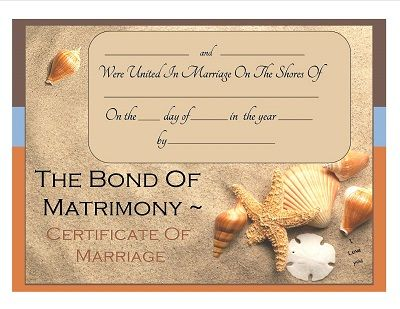 Beach Themed Keepsake Marriage Certificate Free Download  Ideas