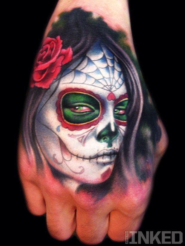 Khan // super realistic sugar skull // hand tattoo ...
