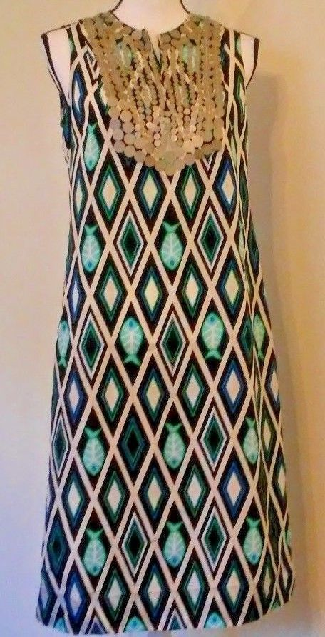 882a9d97b65d Tory Burch Women s Dress Size 6 100% Silk Fish Geometric Print Multi-Color