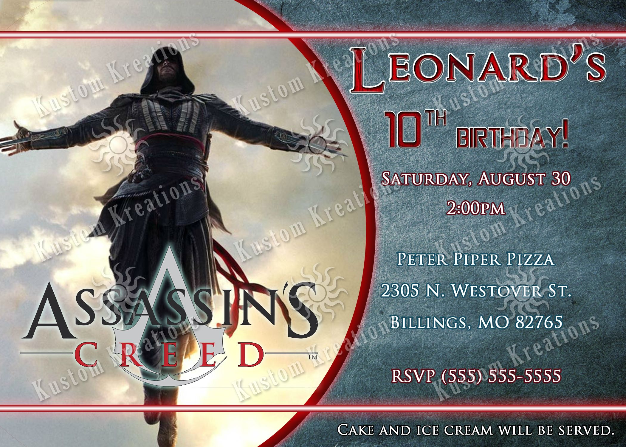 Assassin S Creed Birthday Invitations Birthday Invitations