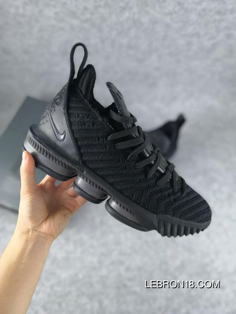b06ca895b37 New Nike Lebron James LBJ 16 James 16 All Black Super Deals