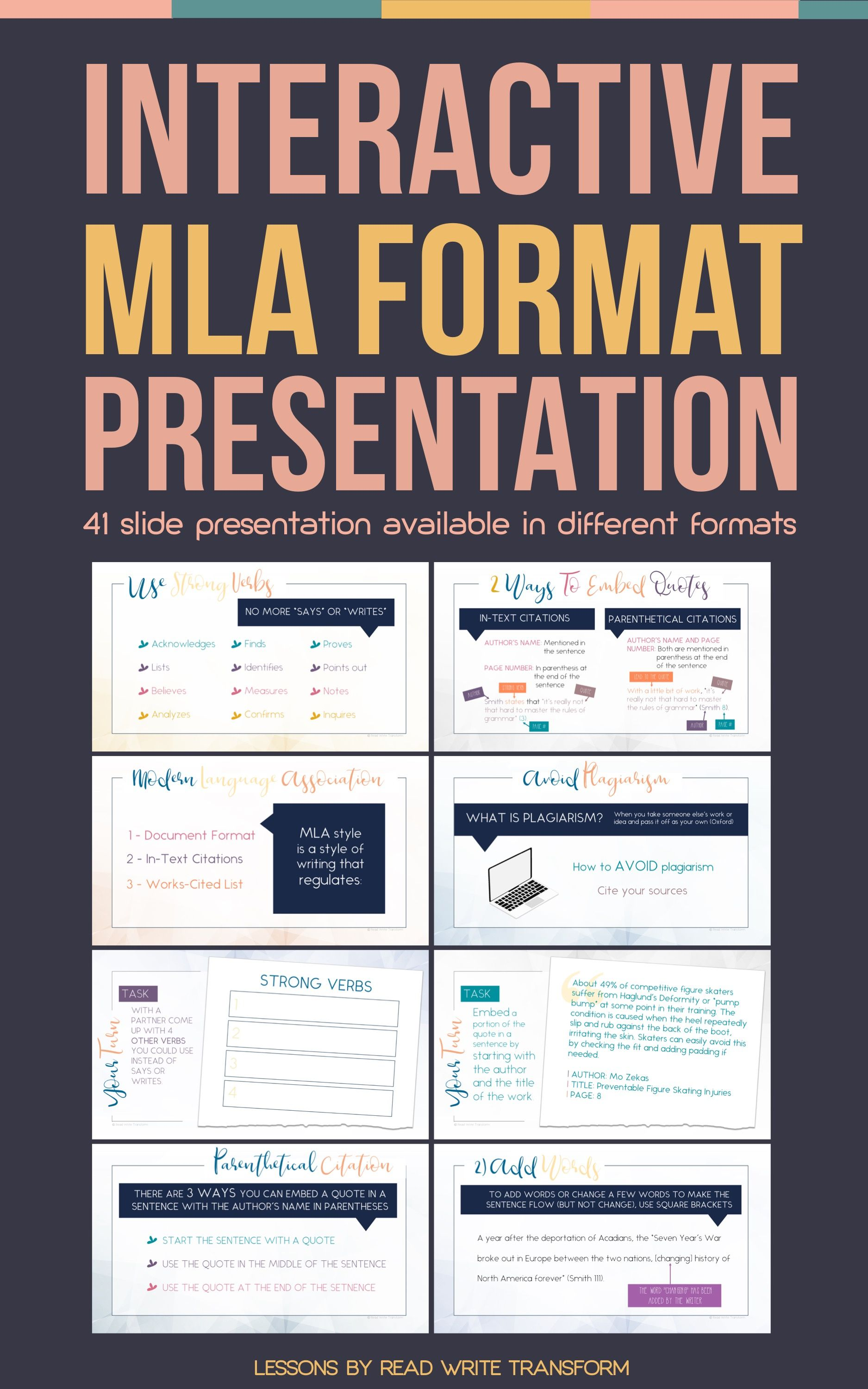The Perfect Presentation To Teach Mla Format Interactive Presentation Teaching Writing Writing Lessons Middle School