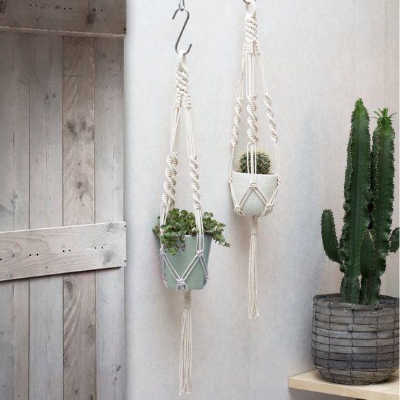Topfpflanzen Verschenken ceramic macrame hanger plant holder hanging planter macrame