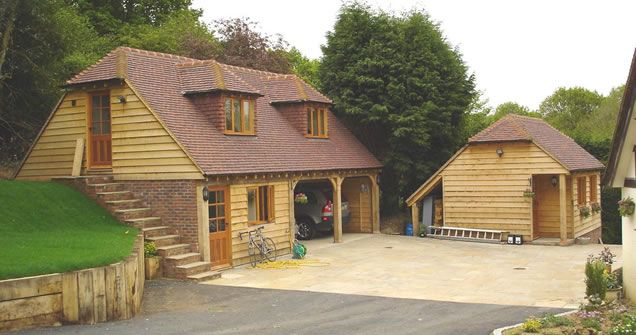 Garages Built In A Bank And Construction Of Two Oak Framed
