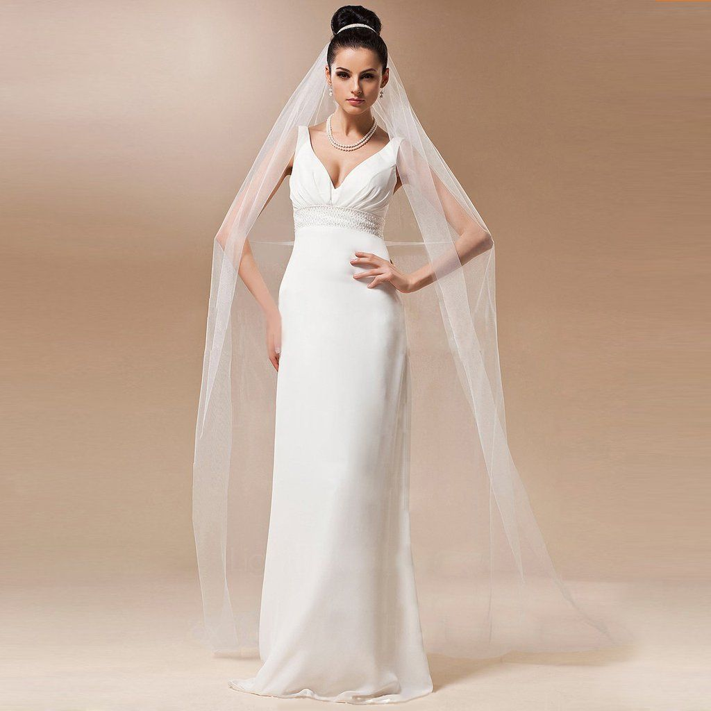 BBSV One Layer Chapel Veil Simple White Ivory Long Quality And Affordable