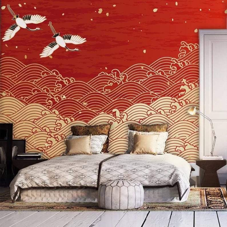 Japanese Design Waves Drawing Wallpaperhome Decor Wall Etsy Wave Drawing Japanese Wall Art Wall Decor