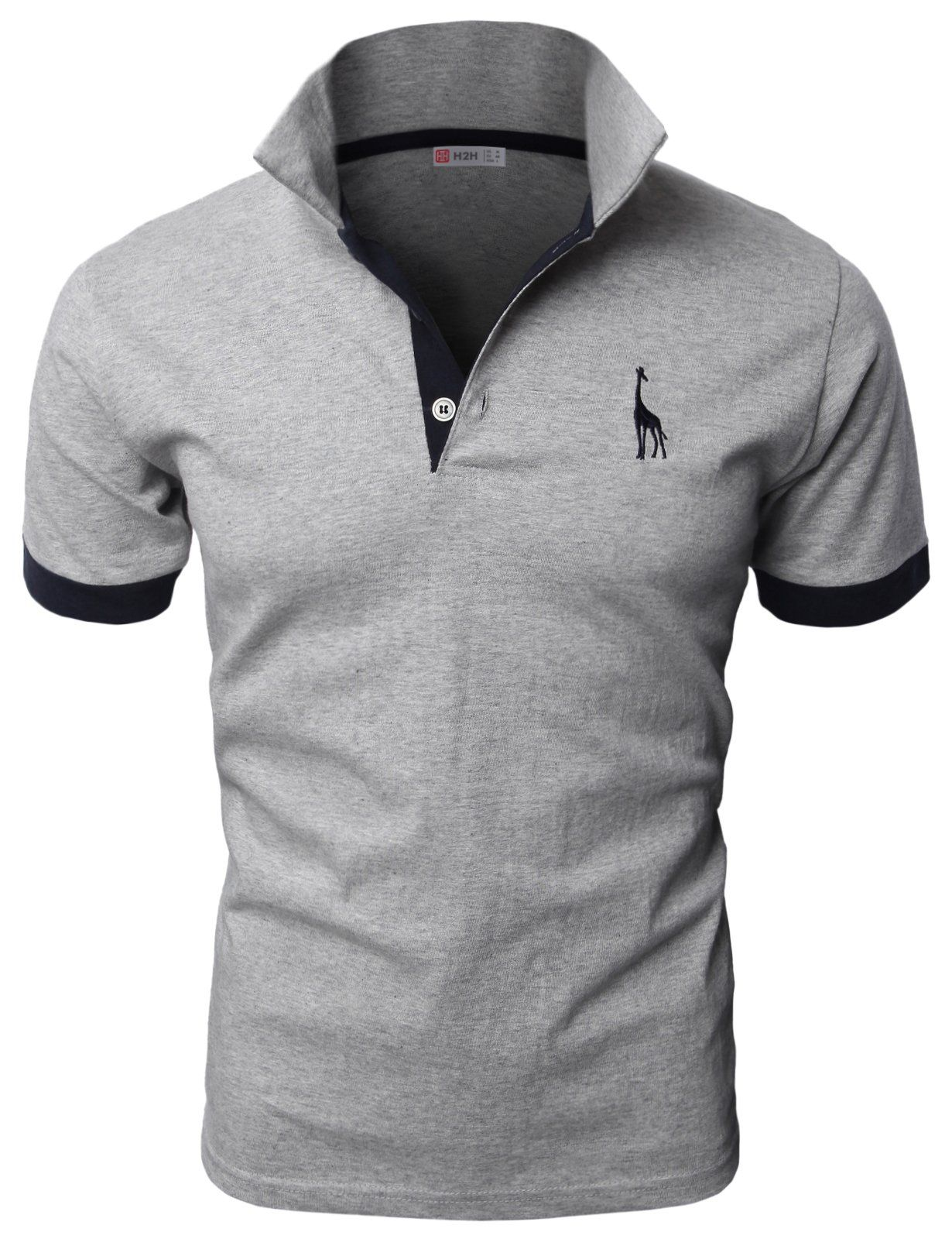 H2h Mens Fine Cotton Giraffe Polo Shirts Of Various Colors Navy Us M