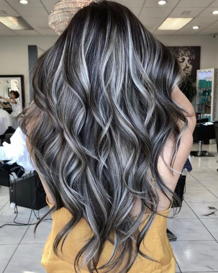 60 Shades Of Grey Silver And White Highlights For Eternal Youth In 2020 Gray Highlights Brown Hair Dark Hair With Highlights Grey Brown Hair
