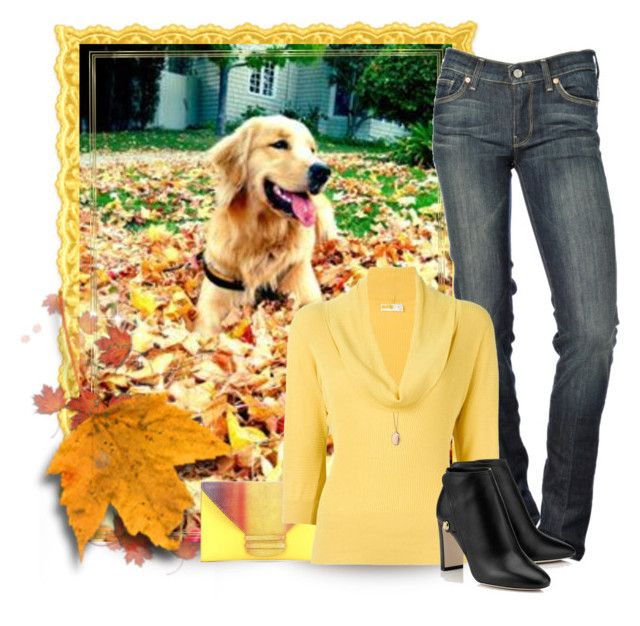 """""""Yellow Lab w/ Yellow Sweater"""" by shanasark ❤ liked on Polyvore featuring 7 For All Mankind, VBH, Prada and Monica Rich Kosann"""