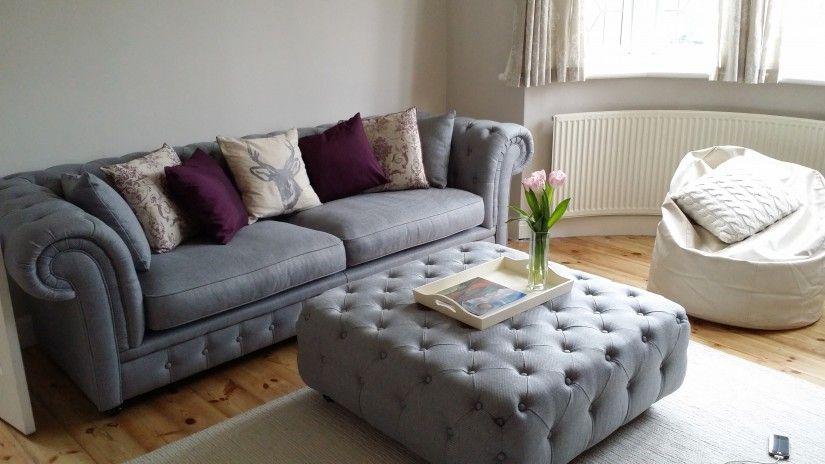 Branagh Large Footstool In Pearl Grey GreyChesterfield SofaSofa
