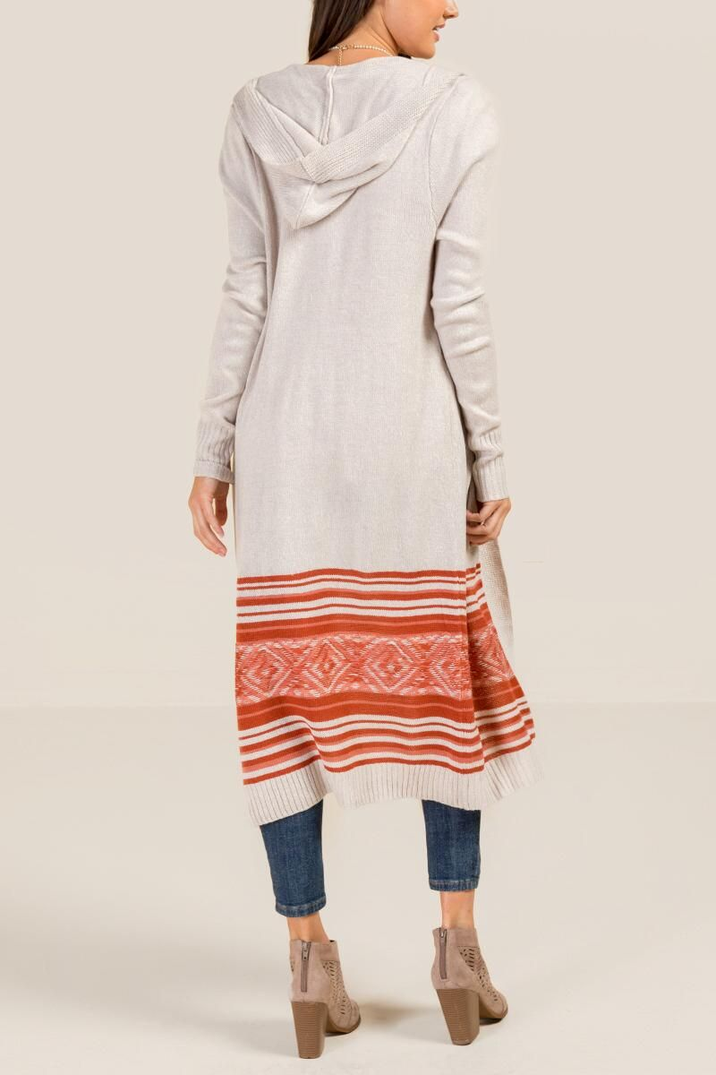 Holly hooded maxi wrap sweater cinnamon back my closet all the