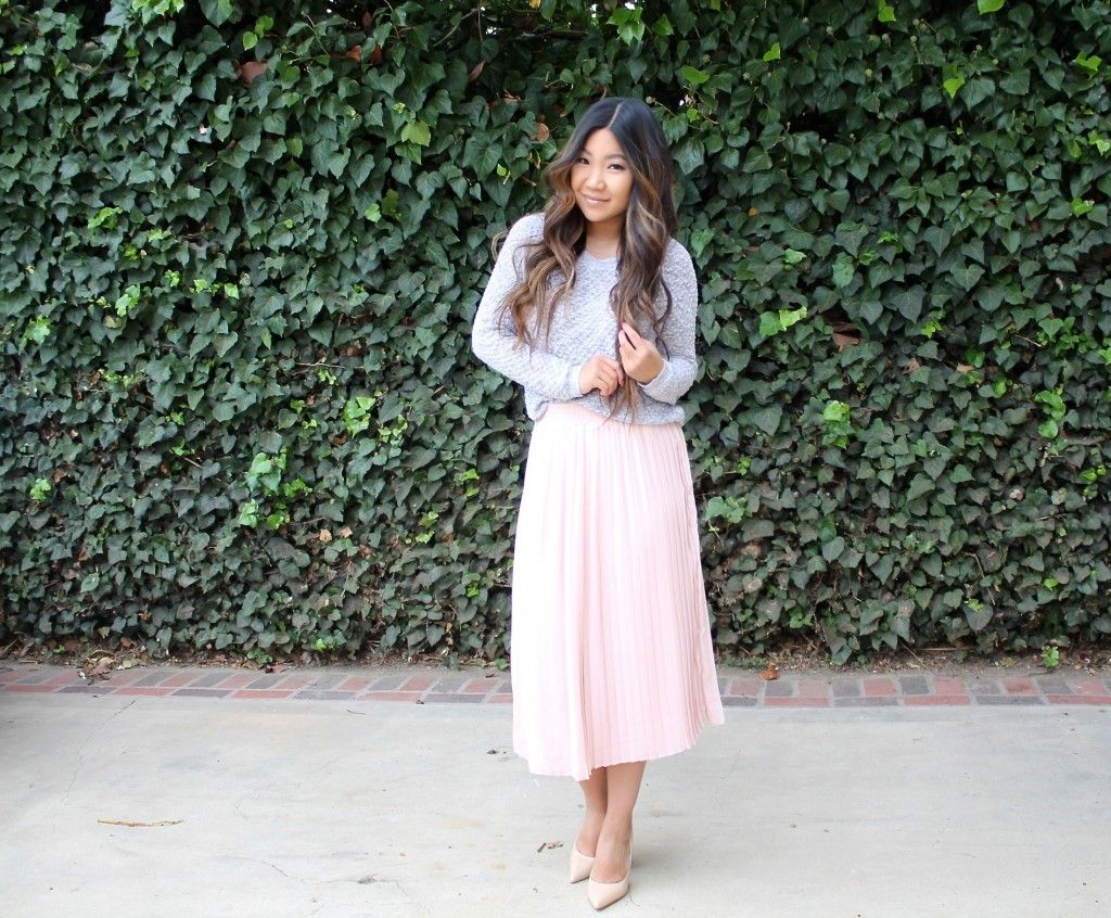 Today's modest church outfit is this adorable pink pleated midi skirt paired with grey knit cardigan | Tia Alese Wong | Blog | LDS | Mormon | Blogger | Outfit of the day | What I wore | Modest outfit | Sunday Best | Who What Wear | Target Style