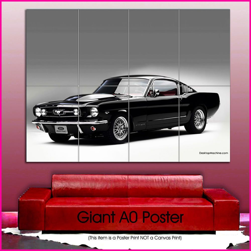 cars0257 Mustang Retro Cars Giant Wall Art Poster A0