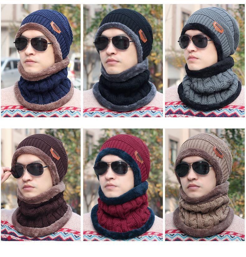 7e9804a7c9c Unisex Fashion Hats Men Winter Outdoor Wool Ski Hat scarf Set hooded Cap  Earmuffs Head Caps beanie Warm balaclava Mask gorro