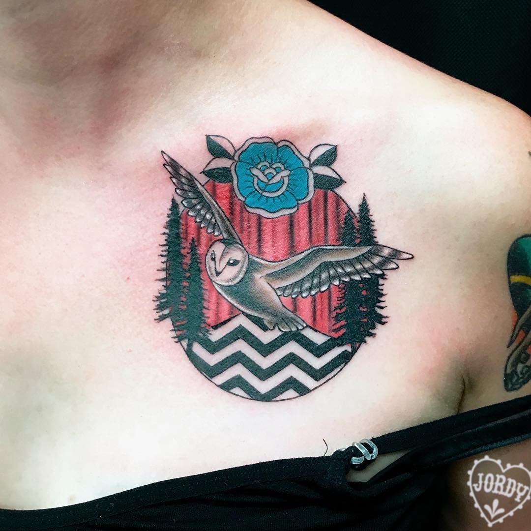 aaaall the twin peaks for liz #twinpeaks #twinpeakstattoo #bluerose #redroom #thereturn #blacklodge #meanwhile #collarbonetattoo #theowlsarenotwhattheyseem #phillytattoo #philadelphia #manayunk #tattoosbyjordy
