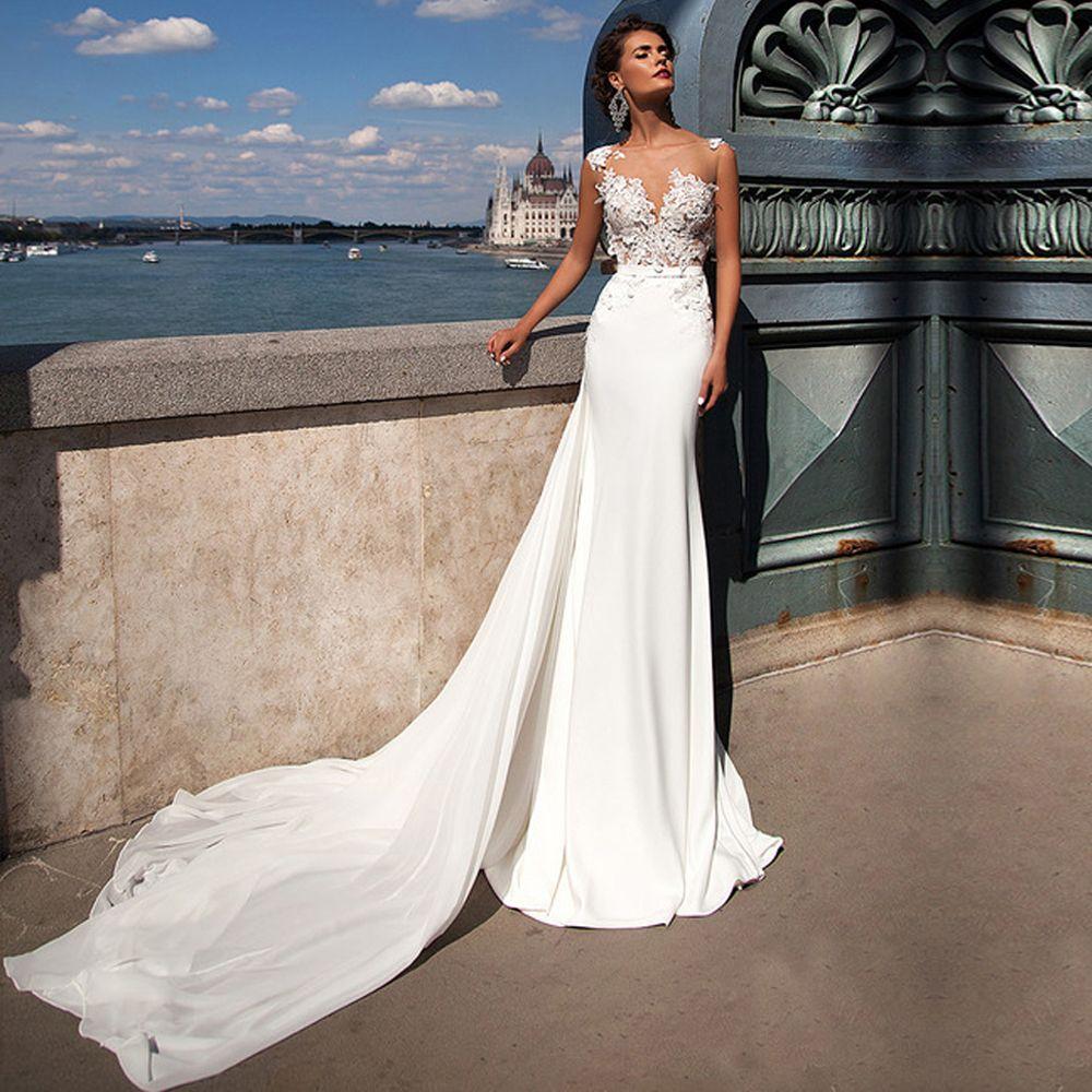 Beach Wedding Dress Lace With Detachable Train Summer Abiti Da Sposa 2017 White Cheap Boho Bridal
