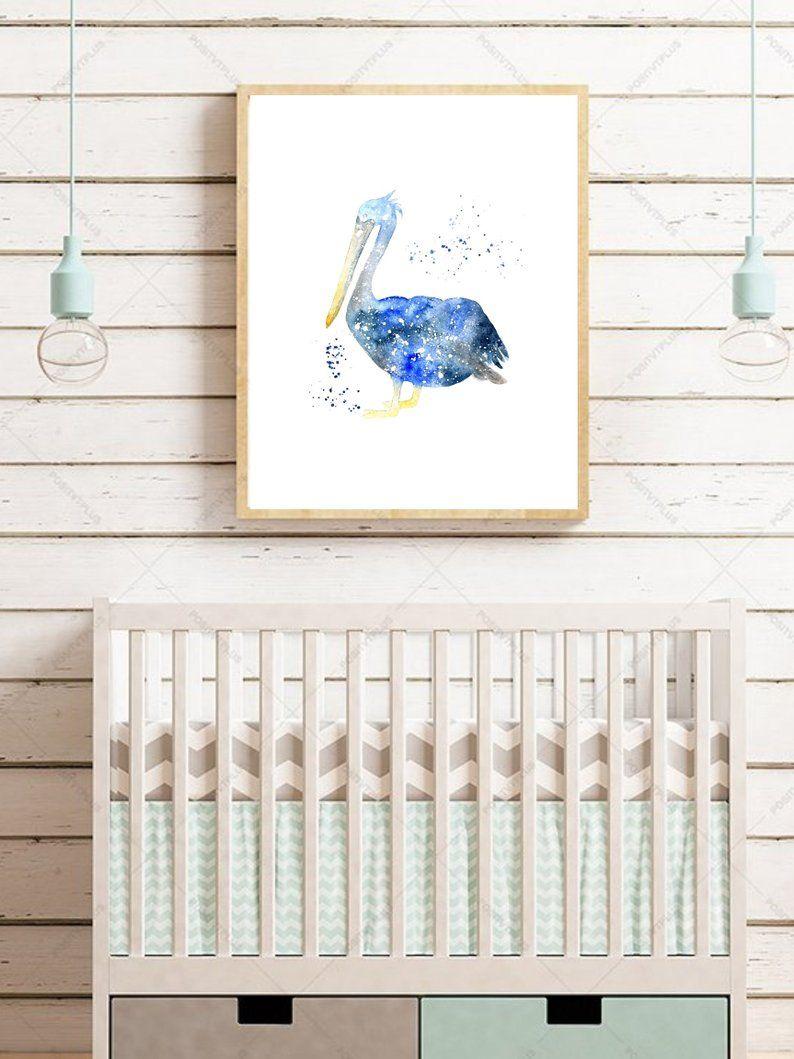 Printable Nautical Nursery Art Beach Décor Pelican