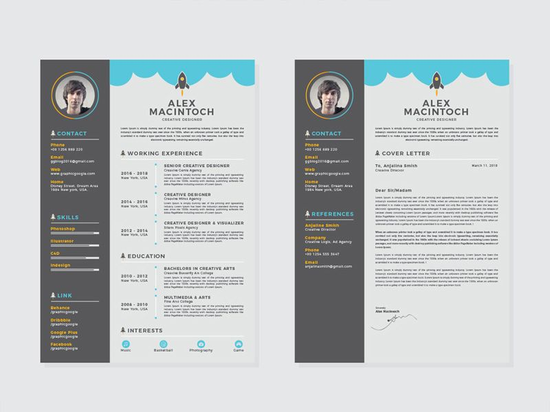 Free Creative Resume Template with Matching Cover