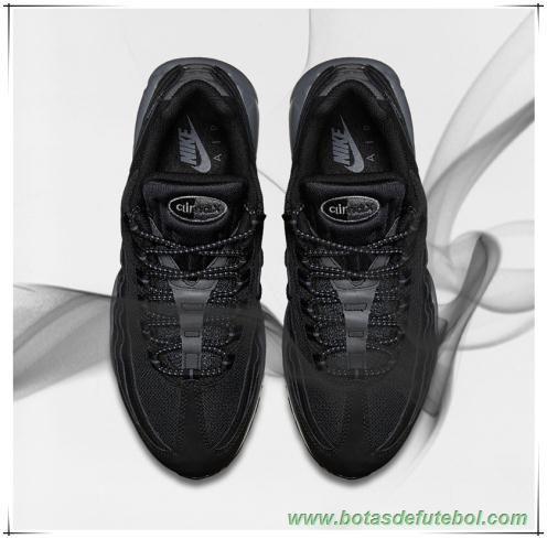 chuteiras profissionais baratas Nike Air Max 95 609048-087  Preto Preto Cinza Escuro Masculino b01d075df1ca4