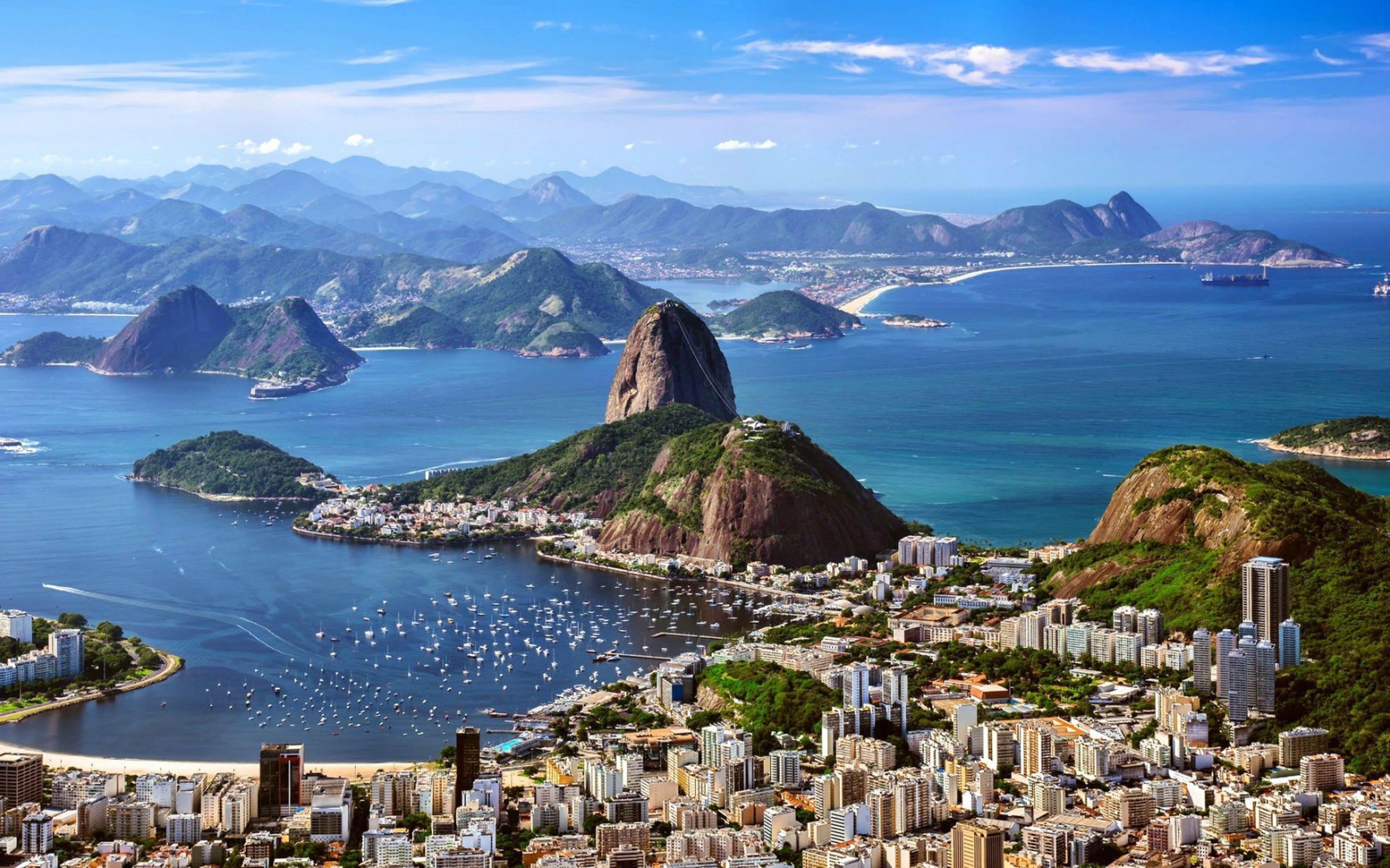 Rio De Zhaneiro Brazil Mountains Sea City Skyline Hd Wallpaper