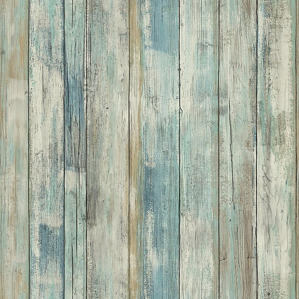Roommates Distressed Wood Peel Stick Wall Decor In Blue Bed Bath Beyond Distressed Wood Wallpaper How To Distress Wood Wood Wallpaper