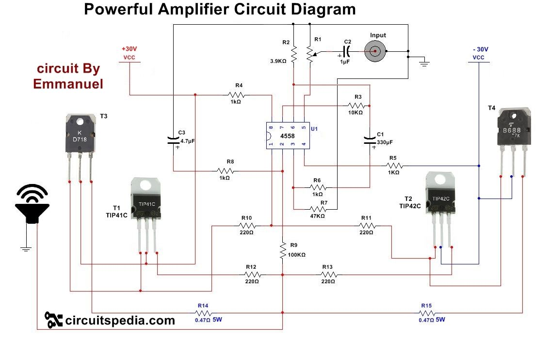 4558 powerful audio amplifier circuit | 4558 high power