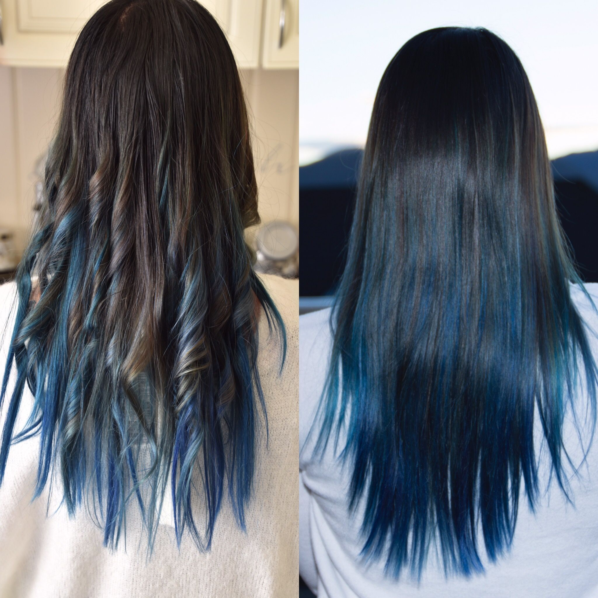 Dark Brown In The Top And Diffrent Blue Color In Bottom Hair