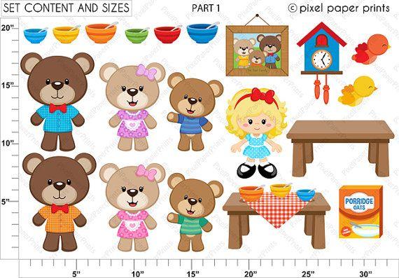goldilocks the three bears clipart and digital paper set bears rh pinterest ca Goldilocks and the Three Bears House Clip Art goldilocks and the three bears clipart free