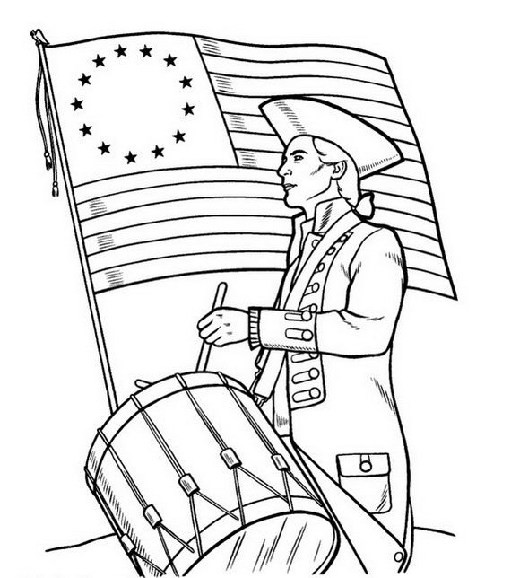 Independence Day Coloring Pages July Fourth American Flag
