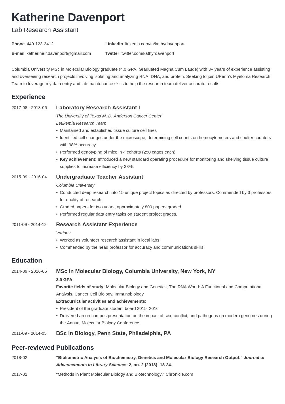 Research Assistant Resume Example Template Minimo In 2020 Resume Examples Research Assistant Job Resume Examples