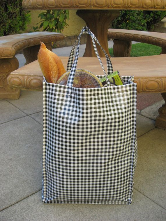 Durable Oilcloth Shopping Tote  Black Gingham by bluetulip on Etsy, $25.00