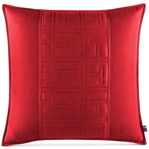 "Tommy Hilfiger Academy Red 20"" x 20"" Decorative Pillow featuring polyvore home home decor throw pillows red red toss pillows tommy hilfiger red home accessories red throw pillows red home decor"
