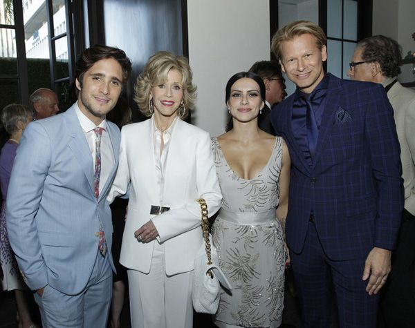 Diego Boneta, Jane Fonda and Cleo Pires pre AFI cocktail on LA
